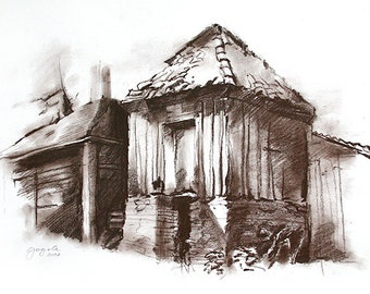 architecture art house drawing Nature Old cottage in brown Dark sanguine charcoal Medium size Wall decor