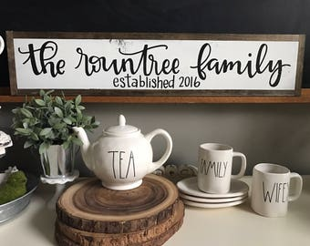 Family Established Sign - CUSTOM- wedding gift - farmhouse home sign - new home gift - wholesale - farmhouse chic decor
