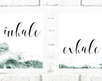 Inhale exhale Print, 2 prints set, inhale print, yoga print, Breath Print, zen print, meditation print, wave wall decor, inhale quote print