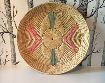 Vintage Bohemian Woven Wall Basket Pink and Green Coil Tray