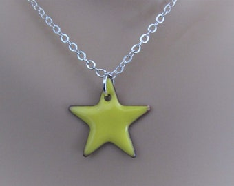 Buttercup Yellow Star Enamel Sterling Silver Necklace