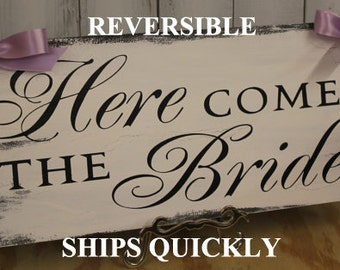 Here Comes the BRIDE Sign/Photo Prop/Great Shower Gift/Black/White/Light Weight/Rustic/U Choose Back/Wood Sign/Wedding Sign/Fast Shipping