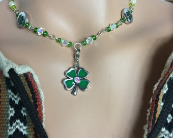 Lucky Four Leaf Clover Necklace, St Patric's Day, Clover Necklace