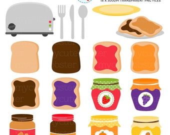 Toast Clipart Set - toaster, breakfast, jam, jelly, peanut butter, clip art set, food - personal use, small commercial use, instant download