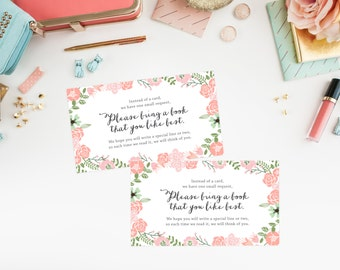 Instant Download - Floral Wreath Book Request Cards