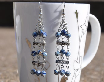 Blue and White Mottled Glass Dangle Earrings