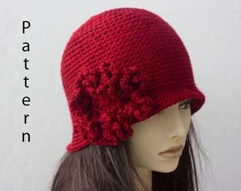 Flower Cloche Hat Crochet Pattern, Instant Download, Flapper Hat PDF  Pattern
