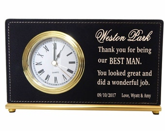 Best Man Gift - Gifts for Groomsmen Personalized - Custom Desk Clocks - Wedding Thank You Gift - Office Gift, LCG002