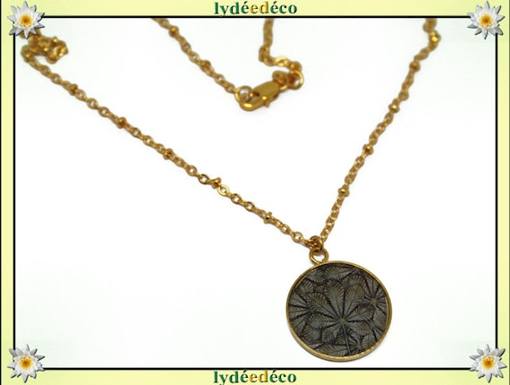 Necklace LEAF Golden brass gold 24 carat 24 k gray beige Brown resin tree leaves