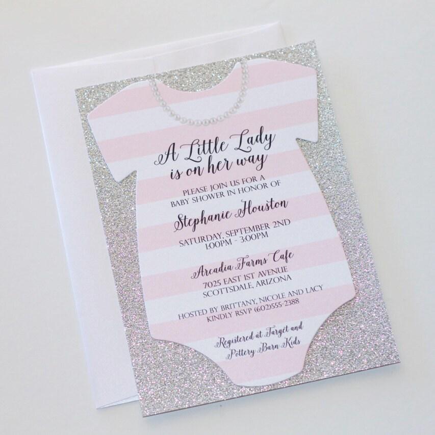 Baby Shower Onesie Invitation Glitter Shower Invitation