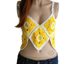 Yellow Crochet top, Yellow Halter top, Crochet crop top, Summer Crochet Top, Knit Bikini Top, Beach clothing, Knit bustier, Boho Crochet top
