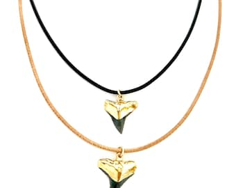 Shark Tooth Leather Necklace, Shark Tooth Necklace, Black Shark Tooth, Gold Sharktooth, Black Leather, Brown Leather, Hawaii Jewelry