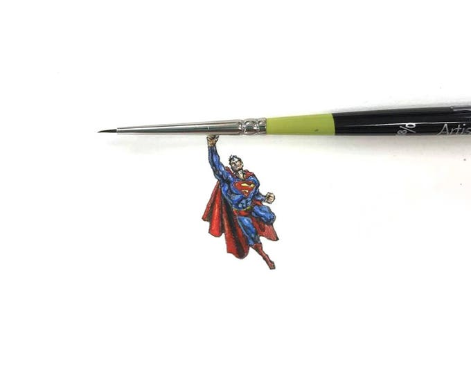 "Print of miniature painting of Superman 1 1/4 x 1 1/4"" giclee of Superman painting on 5"" square german etching paper"