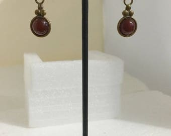 Brass circle lever back earrings with carnelian stones