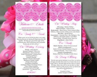 """Heart Wedding Program Template - Hot Pink Wedding Program """"With All My Heart"""" Lace Ceremony Program Instant Download - DIY Wedding Printable"""