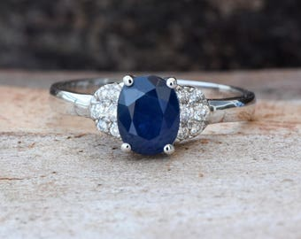 Blue Sapphire Diamond Engagement Ring -White Gold Ring-1 carat Sapphire  Engagement Ring -Anniversary present-Promised ring-For her