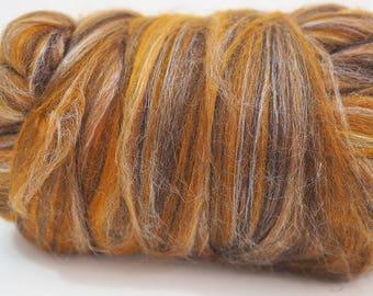 100g Brown Mustard White Extra Fine Merino Wool Tussah Silk Blend Tops Roving, Wet Felting, Nuno Felting, Spinning