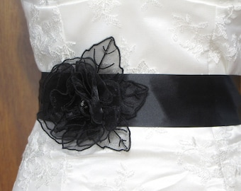 Black Bridal Sash with Flower - Black Flower Sash - Black Wedding Sash - Black Floral Sash - Black Double Face Satin Sash
