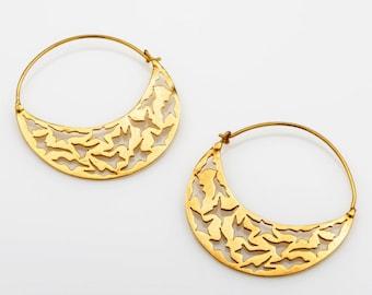 Tribal Earrings, Gold Hoop Earrings, Boho Earrings, Gypsy Earrings, Ethnic Jewelry, Birds Earrings, Tribal Belly Dance Jewellery