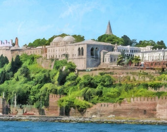 Topkapi Palace as seen from the Bosphorus, Istanbul, Palace, Turkish Palace, Walls of Constantinople, Ottoman Empire, Available on Canvas