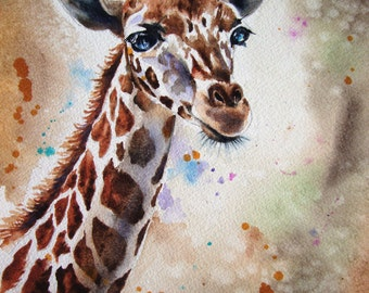 Watercolor Painting Original Giraffe, Limited Edition Giclee Print from my original watercolor painting of a Giraffe, Home Decor 8 x 10