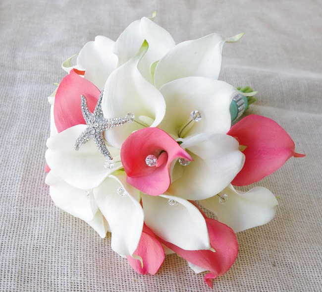 Silk Flower Wedding Bouquet Coral or Peach Calla Lilies