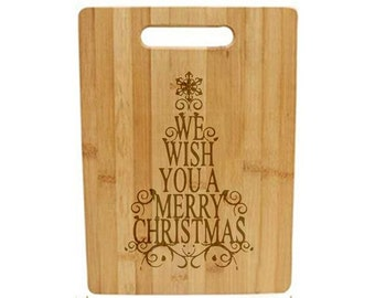 Laser Engraved Cutting Board - 046 - We wish you a Merry Christmas