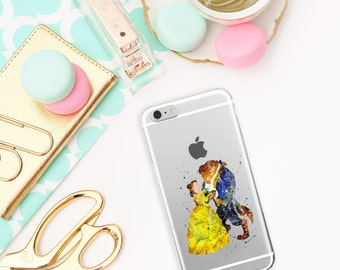 Beauty and the Beast Transparent iPhone 5/5S/SE cases, iPhone 6/6S, iPhone 7 case, Aquarell case