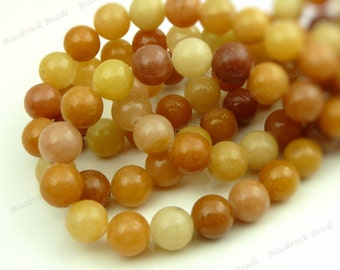 10mm Goldenrod Colonial Jasper Natural Gemstone Beads - 19pcs - Multicolor Smooth Round Beads - BC26