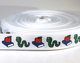"5 yards of 7/8 inch ""bookworm"" grosgrain ribbon"