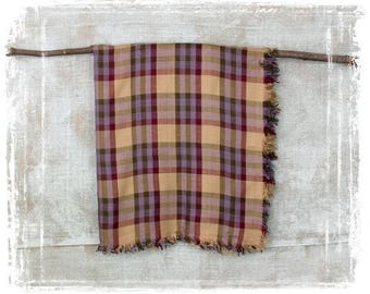 Vintage Scarf, Plaid Scarf, Purple, Echo Scarf, Square Scarf