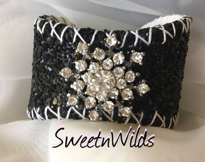 Black Cuff Baseball Bracelet-Leather jewelry-READY TO SHIP-Diamonds-Wedding accessories-Holiday Gifts