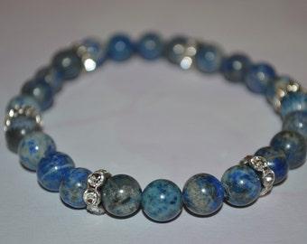 Lapis with Crystal Rhinestone Bracelet