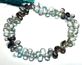 Natural Gem Stone 9 Inch,SUPERB, AAA Quality,Multi Moss Aquamarine faceted   Pear Shape  Beads Briolettes    7 To 9 MM Size