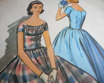 Vintage 1950's McCall's 3955 Dress Sewing Pattern Size 14 Bust 34