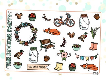 Spring Woodland Creatures Planner Stickers Spring Planner Stickers