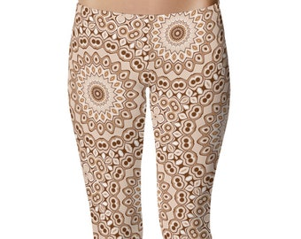 Brown Leggings, Stretchy Yoga Pants, Fashion Leggings, Brown and White Mandala Pattern Printed Tights