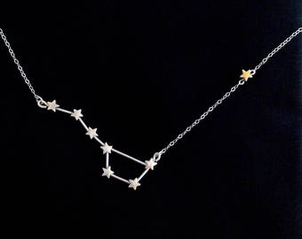 Big Dipper and North Star Constellation Necklace (Sterling Silver)