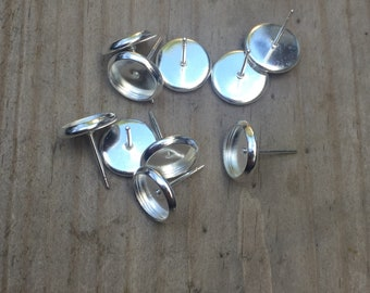 8mm silver plated brass earring settings 10 pieces