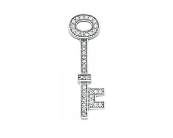 14K Solid White Gold Cubic Zirconia Key Pendant - To My Heart Love Necklace Charm