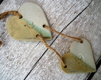 FREE SHIPPING- Ceramic lovehearts, gift idea, pottery, home decor, wall hanger