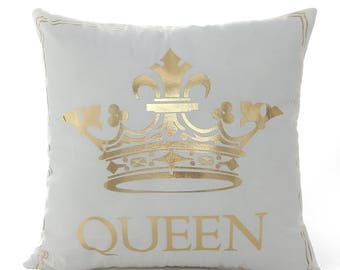 Queen Pillow Cover, Gold Foil Pillow Cover, Gold Pillow Case, Home Decor, Throw Pillow Cover, Quote Pillow