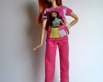 Fashion doll shirt with doll print in rosé/black