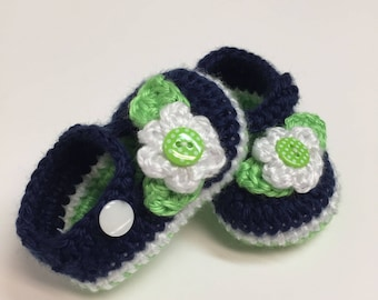 Crochet Baby Booties, Mary janes, Seahawks Inspired, 0-3 Months