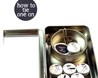 Groomsmen Gift, Best Man Gift, Wedding Gift, How to Tie a Tie, Magnetic, Locket Necklace, 6 Instructional Lids, Personalized Stamped Charm