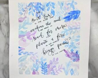 Watercolour calligraphy quote, original artwork