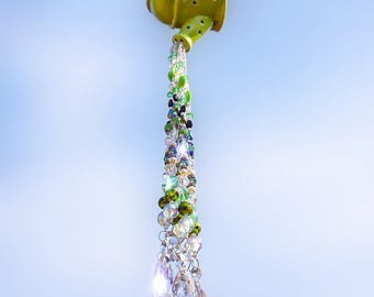 Watering Can, Suncatcher, Crystal Suncatcher, Crystal Sun Catcher, Windchime, Beaded Suncatcher, Sun Catcher, Wind Chimes, Repurposed