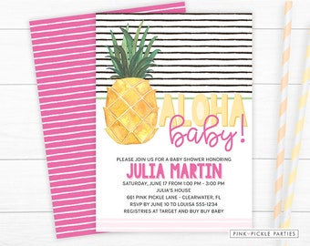 Pineapple Invitation, Pineapple Invitation Baby Shower, Aloha Baby Invitation, Baby Shower, Pineapple Invite, Tropical Baby Shower | 661