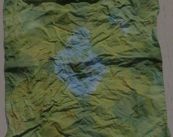 "20x20"" tie dye, green and blue bandana"