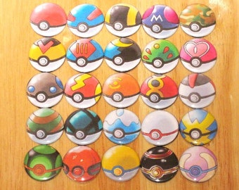 One Set of 26 Pokeballs - 1in Button Badge, Stickers, Tattoos, Embroidered Patch, Magnets